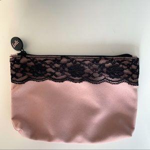 Ipsy Pink/ Black Lace Make Up Bag
